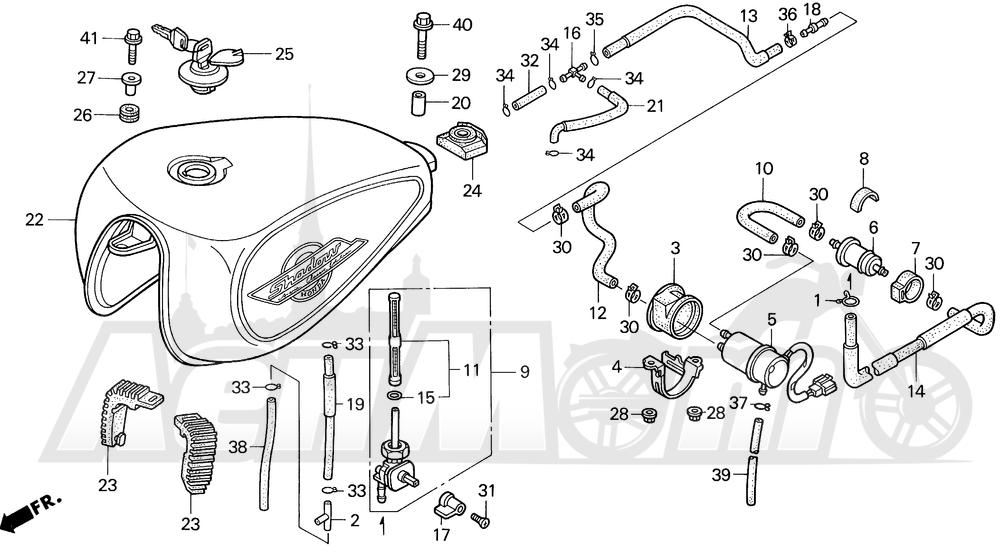 Запчасти для Мотоцикла Honda 1996 VT1100C2 Раздел: 1100C / C2 FUEL TANK 95-97   1100C/C2 топливный бак 95 97