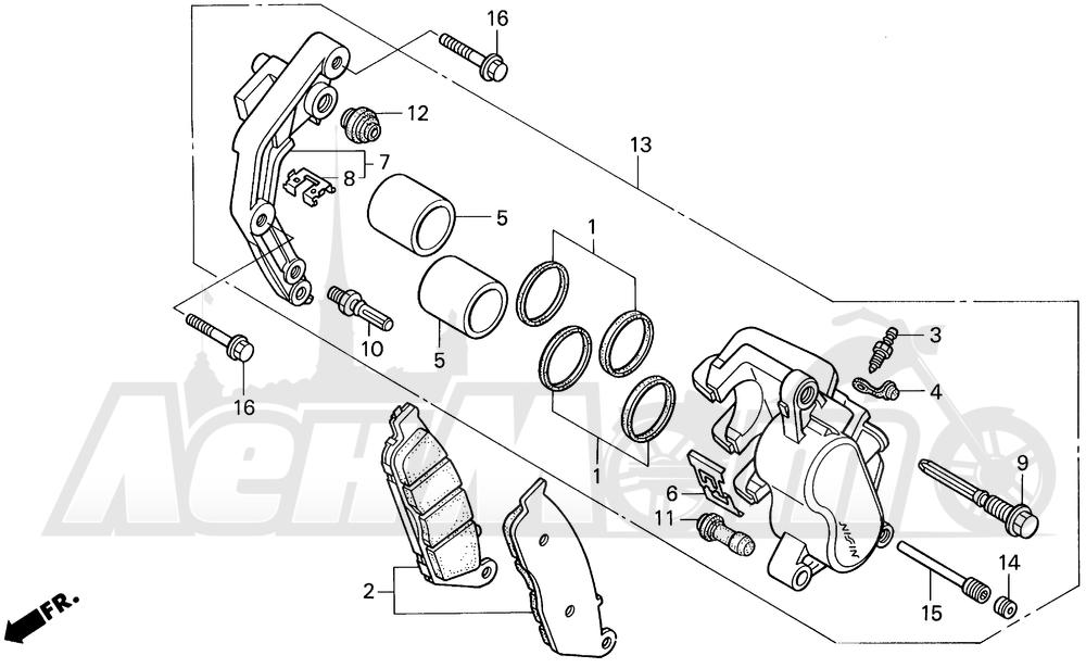 Запчасти для Мотоцикла Honda 1996 VT1100C2 Раздел: VT1100C2 FRONT BRAKE CALIPER | VT1100C2 передний тормоз суппорт