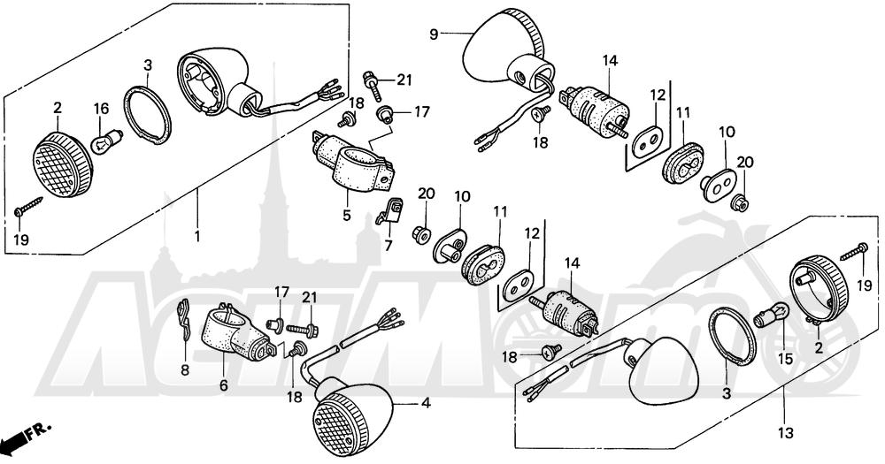 Запчасти для Мотоцикла Honda 1996 VT1100C2 Раздел: 1100C / C2 TURN SIGNAL 95-97 | 1100C/C2 сигнал поворота 95 97