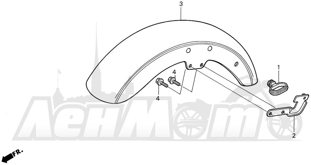 Запчасти для Мотоцикла Honda 1996 VT1100C2 Раздел: VT1100C2 FRONT FENDER | VT1100C2 переднее крыло