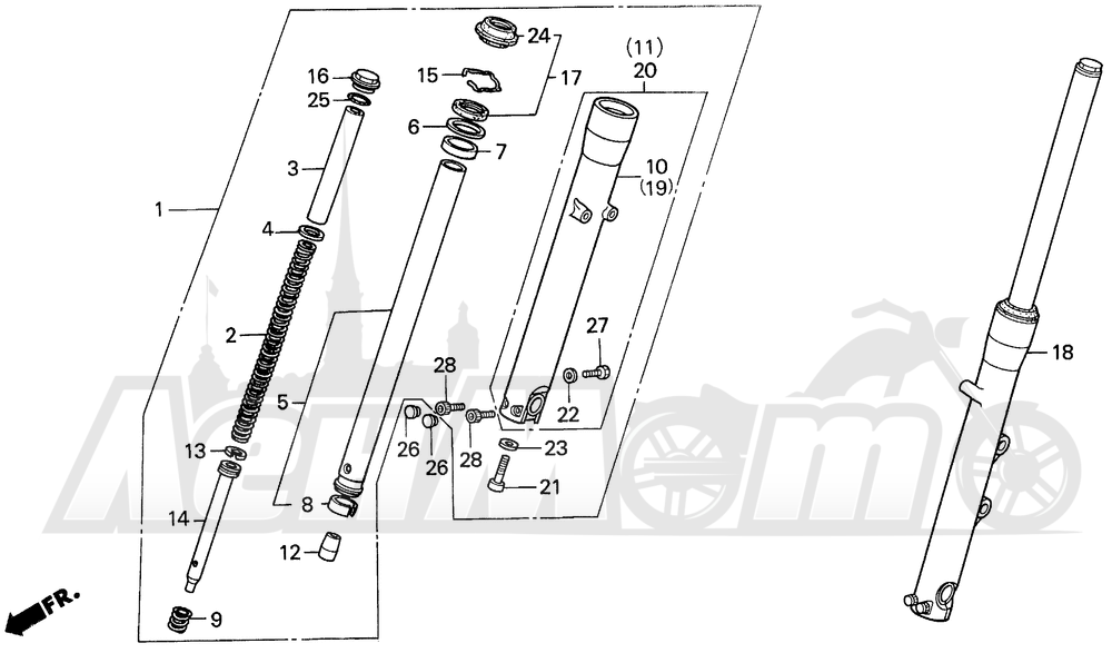 Запчасти для Мотоцикла Honda 1996 VT1100C2 Раздел: VT1100C2 FRONT FORK | VT1100C2 передняя вилка