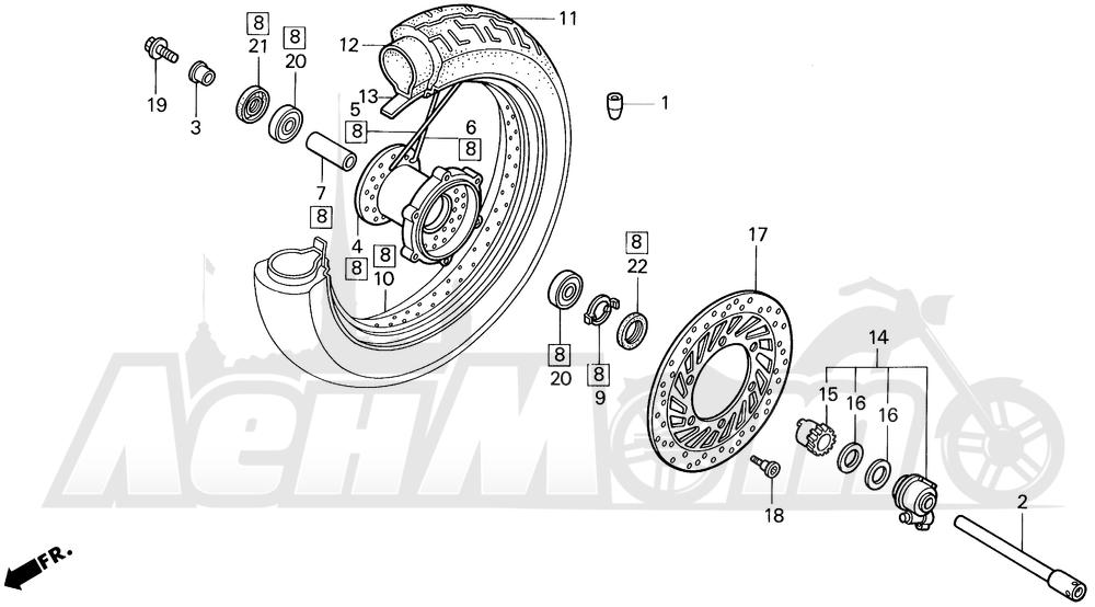Запчасти для Мотоцикла Honda 1996 VT1100C2 Раздел: VT1100C2 FRONT WHEEL | VT1100C2 переднее колесо
