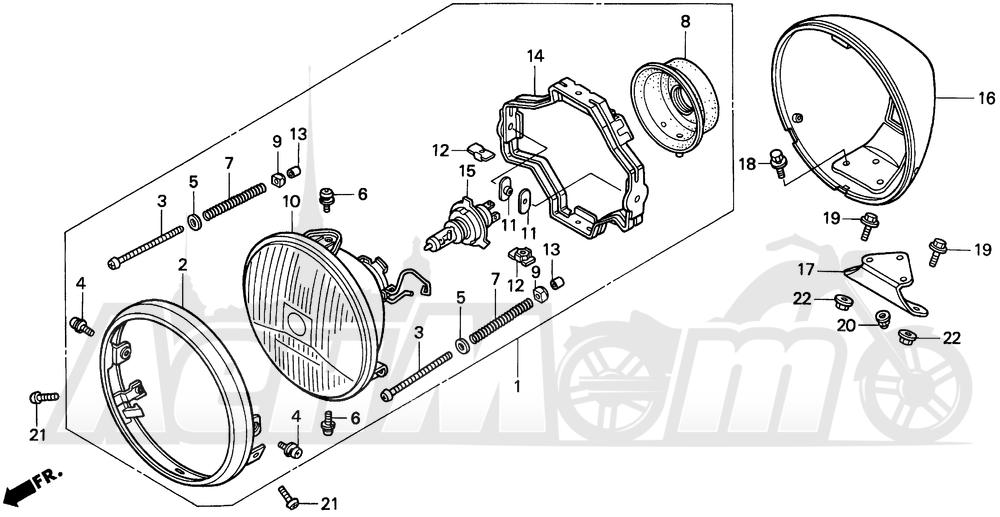Запчасти для Мотоцикла Honda 1996 VT1100C2 Раздел: VT1100C2 HEADLIGHT 95-97 | VT1100C2 передняя фара 95 97