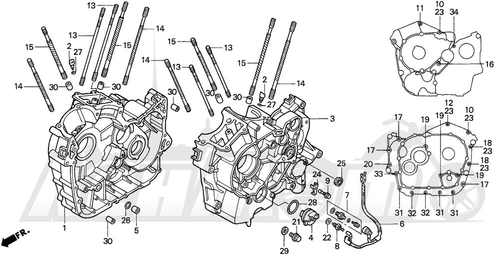 Запчасти для Мотоцикла Honda 1996 VT1100C2 Раздел: CRANKCASE | картер