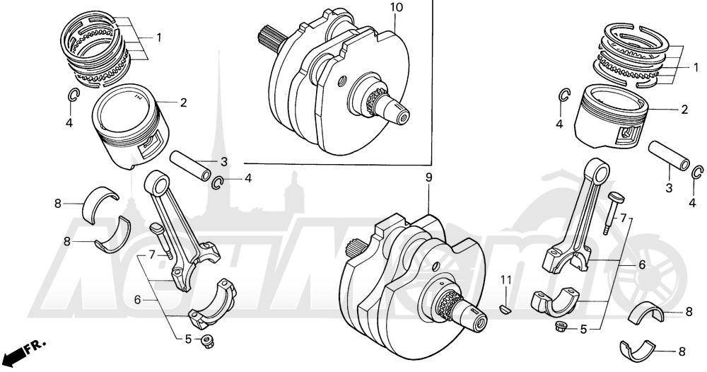 Запчасти для Мотоцикла Honda 1996 VT1100C2 Раздел: CRANKSHAFT | коленвал