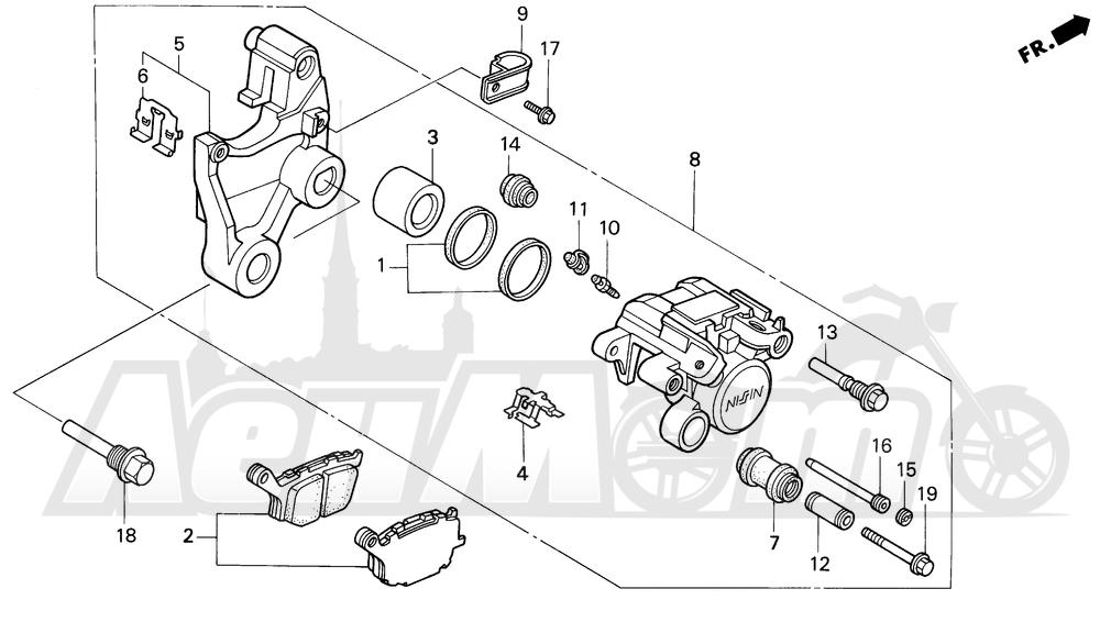 Запчасти для Мотоцикла Honda 1996 VT1100C2 Раздел: VT1100C2 REAR BRAKE CALIPER | VT1100C2 задний тормоз суппорт