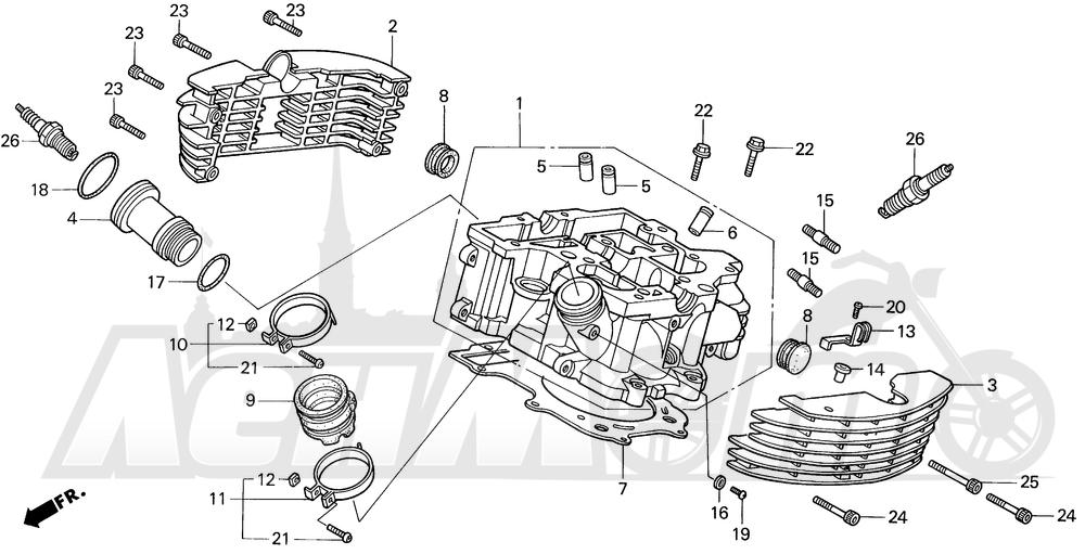 Запчасти для Мотоцикла Honda 1996 VT1100C2 Раздел: VT1100C2 REAR CYLINDER HEAD | VT1100C2 зад головка цилиндра