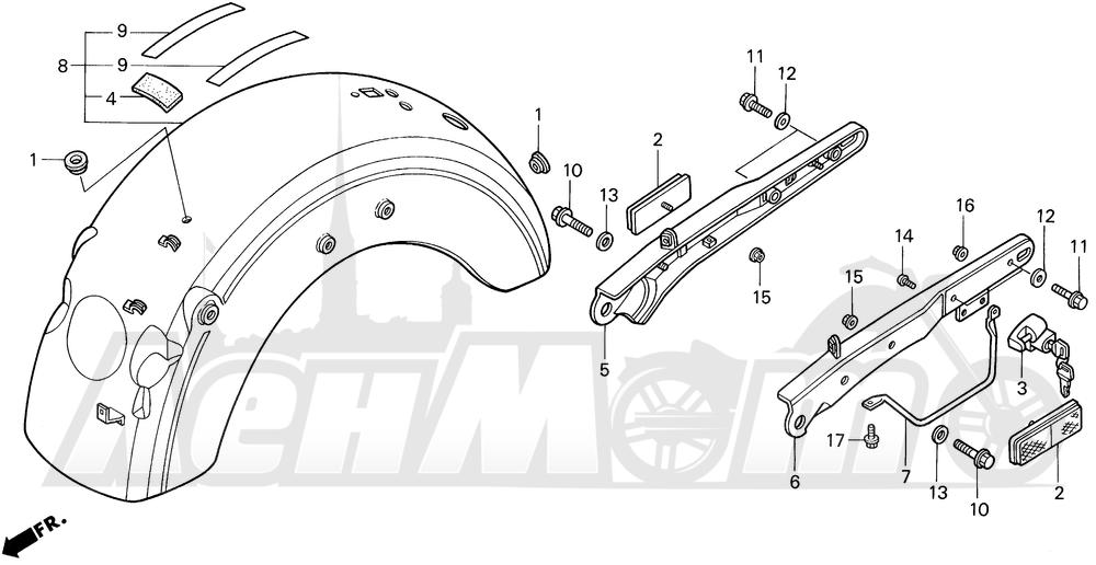 Запчасти для Мотоцикла Honda 1996 VT1100C2 Раздел: VT1100C2 REAR FENDER | VT1100C2 заднее крыло