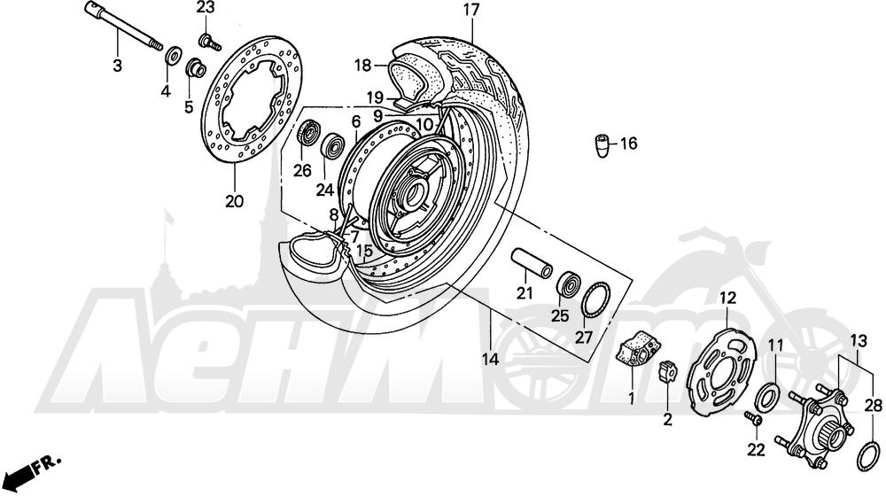 Запчасти для Мотоцикла Honda 1996 VT1100C2 Раздел: VT1100C2 REAR WHEEL | VT1100C2 заднее колесо