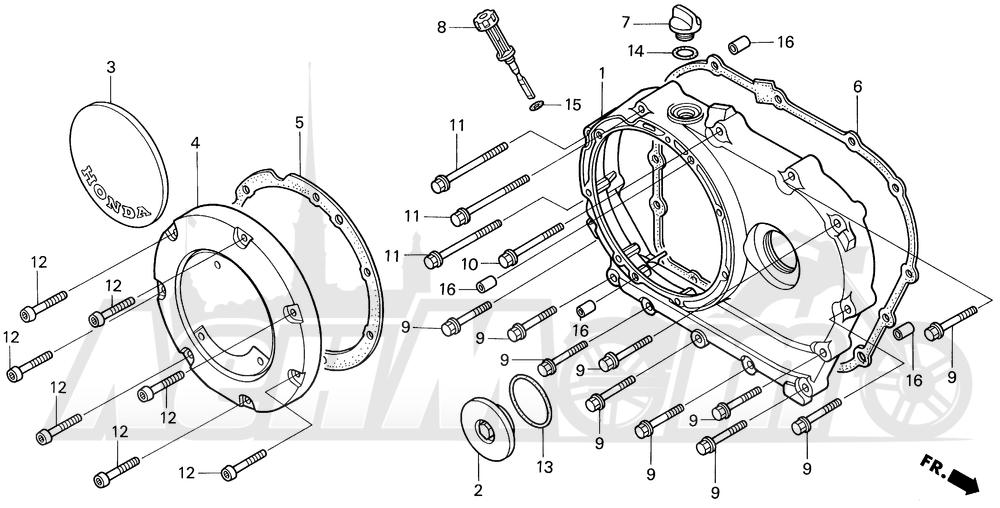 Запчасти для Мотоцикла Honda 1996 VT1100C2 Раздел: VT1100C2 RIGHT CRANKCASE COVER | VT1100C2 правая сторона крышка картера