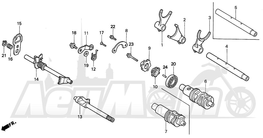 Запчасти для Мотоцикла Honda 1996 VT1100C2 Раздел: GEARSHIFT DRUM | переключение передач барабан