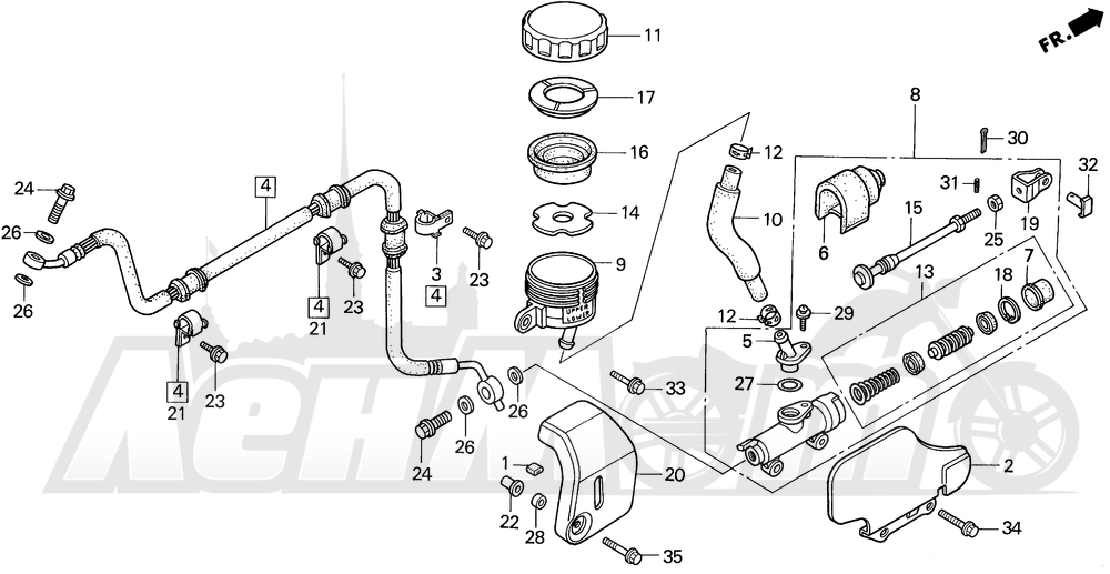 Запчасти для Мотоцикла Honda 1996 VT1100C2 Раздел: VT1100C2 RR. BRAKE MASTER CYL. | VT1100C2 зад. тормоза MASTER CYL.