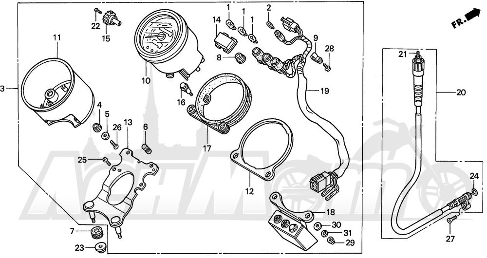 Запчасти для Мотоцикла Honda 1996 VT1100C2 Раздел: VT1100C2 SPEEDOMETER 95-97 | VT1100C2 спидометр 95 97