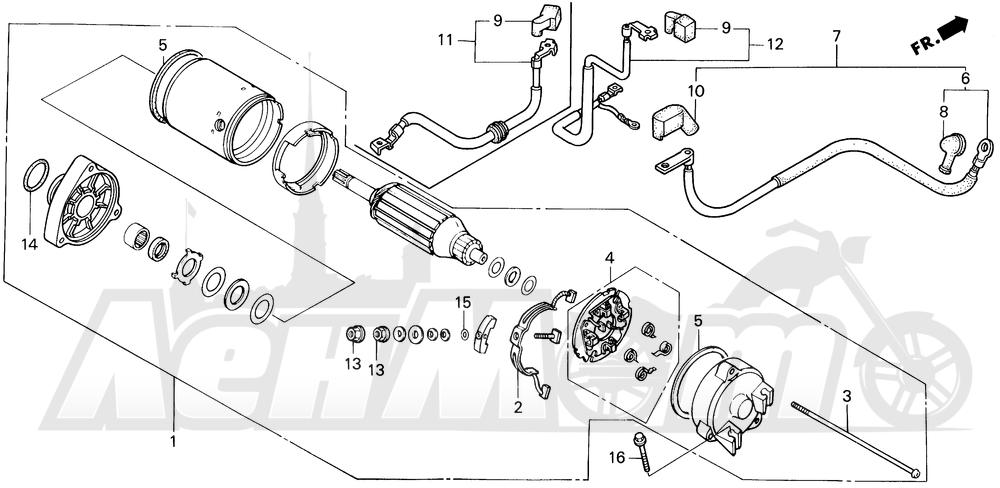 Запчасти для Мотоцикла Honda 1996 VT1100C2 Раздел: STARTER MOTOR | электростартер