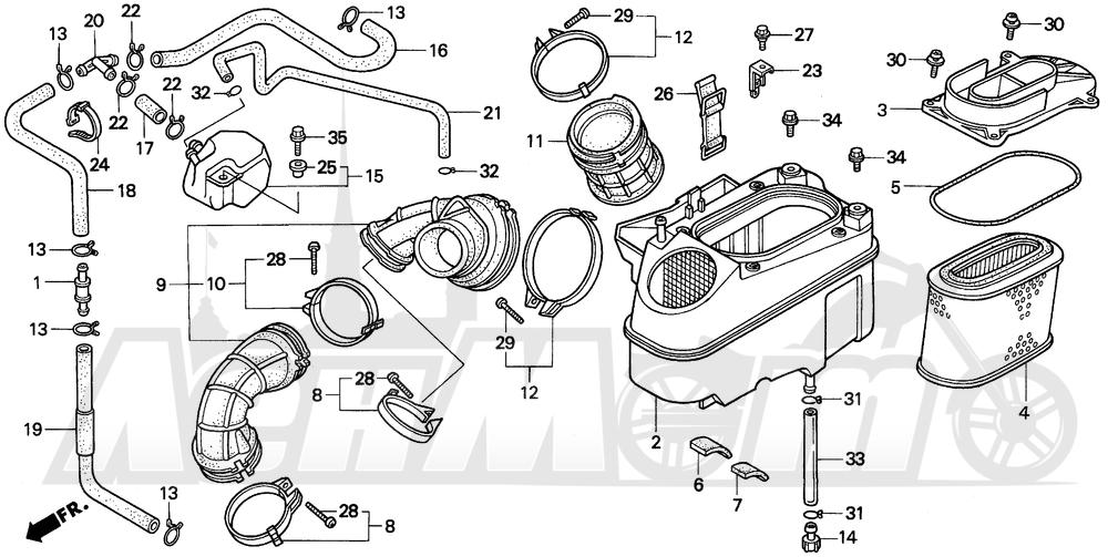 Запчасти для Мотоцикла Honda 1996 VT1100C2 Раздел: VT1100C2 AIR CLEANER | VT1100C2 очиститель воздуха