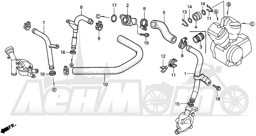 Запчасти для Мотоцикла Honda 1996 VT1100C2 Раздел: VT1100C2 WATER PIPE   VT1100C2 вода труба
