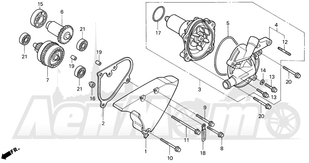 Запчасти для Мотоцикла Honda 1996 VT1100C2 Раздел: VT1100C2 WATER PUMP 95-97 | VT1100C2 водяная помпа 95 97