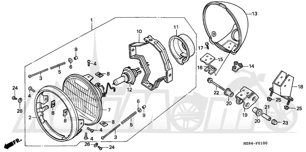 Запчасти для Мотоцикла Honda 1996 VT600C Раздел: HEADLIGHT | передняя фара
