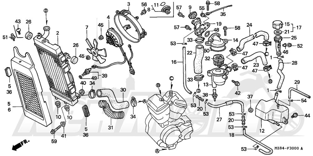 Запчасти для Мотоцикла Honda 1996 VT600C Раздел: RADIATOR | радиатор