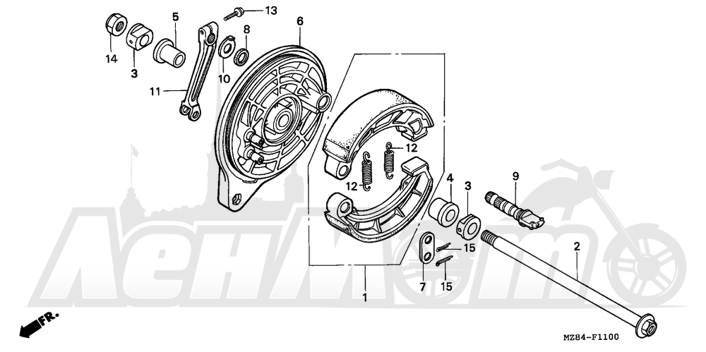 Запчасти для Мотоцикла Honda 1996 VT600C Раздел: REAR BRAKE PANEL | задний тормоз панель