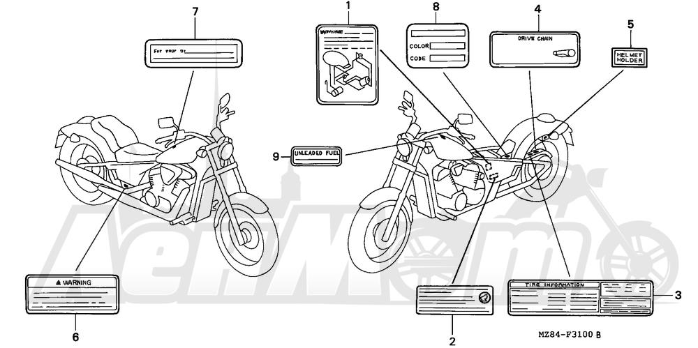 Запчасти для Мотоцикла Honda 1996 VT600C Раздел: CAUTION LABEL   предупреждение этикетка, метка