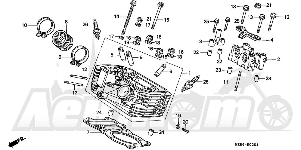 Запчасти для Мотоцикла Honda 1996 VT600C Раздел: REAR CYLINDER HEAD   зад головка цилиндра