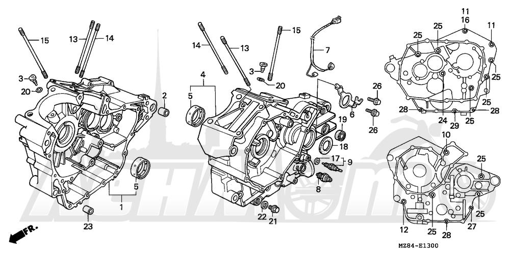 Запчасти для Мотоцикла Honda 1996 VT600C Раздел: CRANKCASE   картер