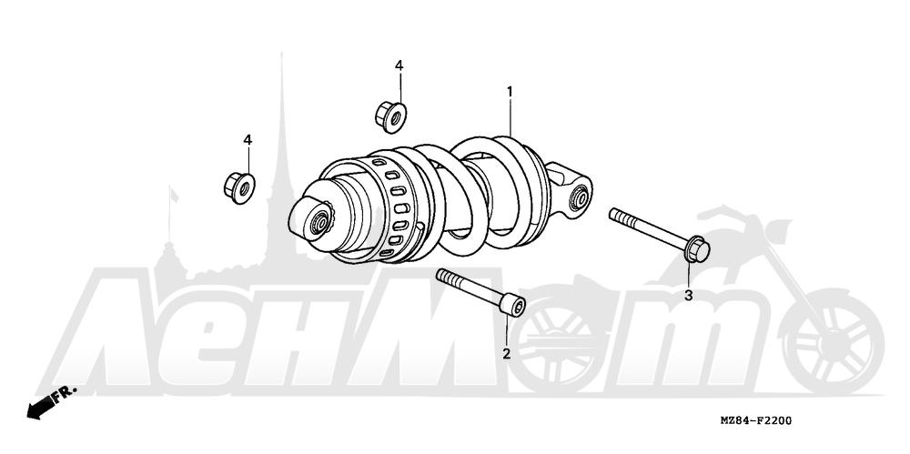 Запчасти для Мотоцикла Honda 1996 VT600C Раздел: REAR SHOCK ABSORBER | зад амортизатор
