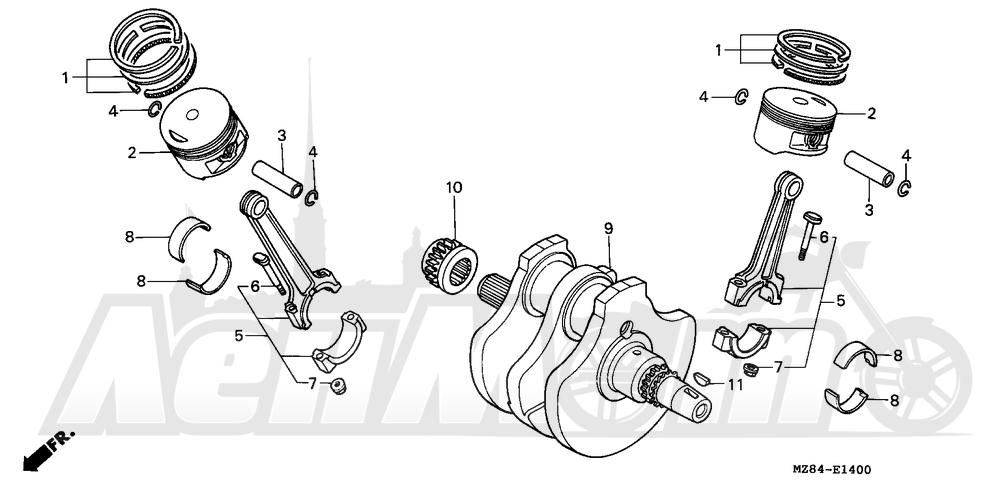 Запчасти для Мотоцикла Honda 1996 VT600C Раздел: CRANKSHAFT   коленвал