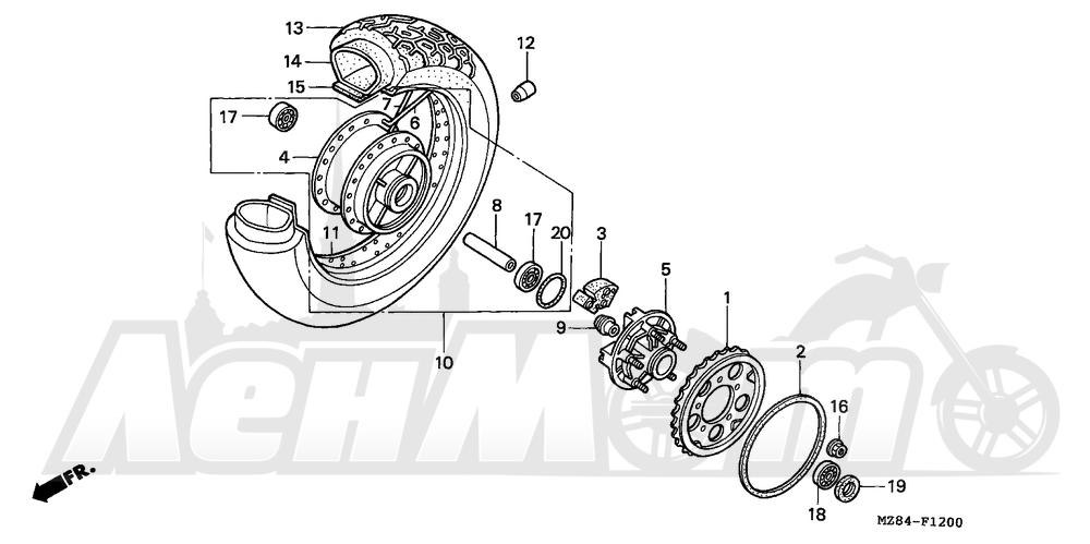 Запчасти для Мотоцикла Honda 1996 VT600C Раздел: REAR WHEEL | заднее колесо