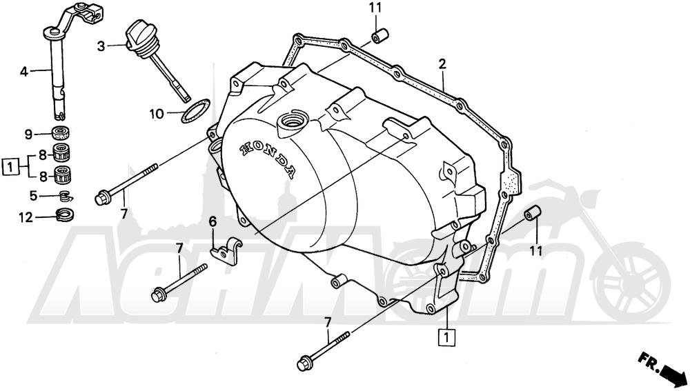 Запчасти для Мотоцикла Honda 1996 VT600C Раздел: RIGHT CRANKCASE COVER   правая сторона крышка картера