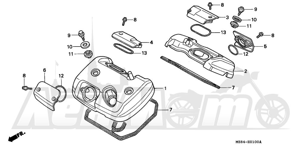 Запчасти для Мотоцикла Honda 1996 VT600C Раздел: CYLINDER HEAD COVER | головка цилиндра крышка