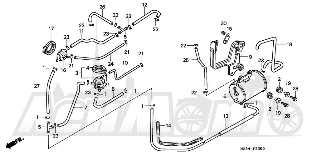 Запчасти для Мотоцикла Honda 1996 VT600C Раздел: EVAP CANISTER | EVAP канистра
