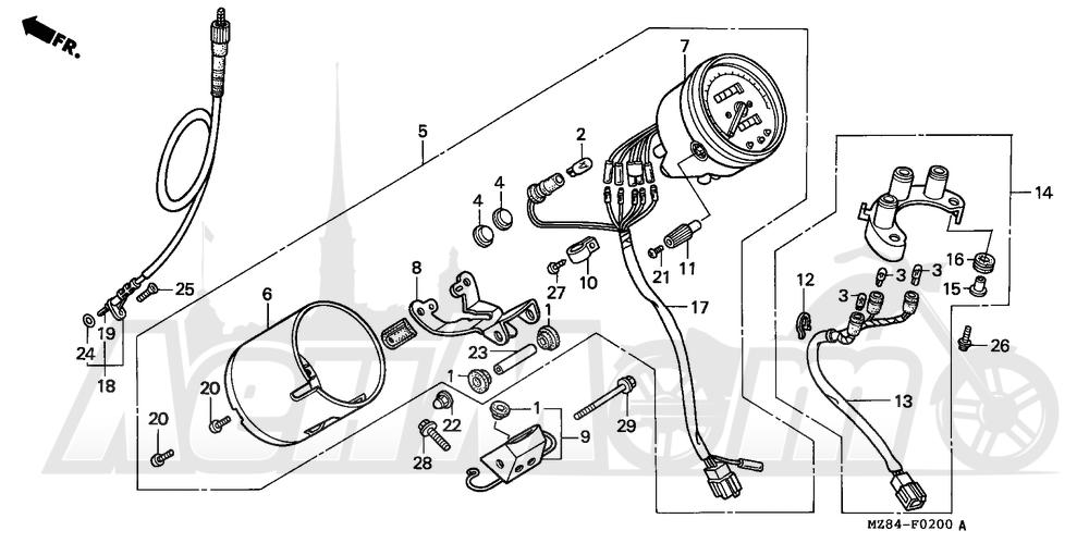 Запчасти для Мотоцикла Honda 1996 VT600C Раздел: SPEEDOMETER | спидометр