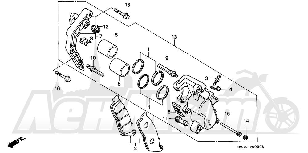 Запчасти для Мотоцикла Honda 1996 VT600C Раздел: FRONT BRAKE CALIPER | передний тормоз суппорт