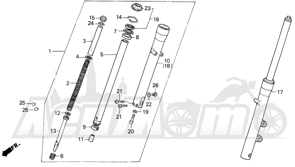 Запчасти для Мотоцикла Honda 1996 VT600C Раздел: FRONT FORK | передняя вилка