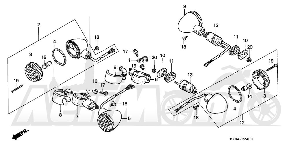 Запчасти для Мотоцикла Honda 1996 VT600C Раздел: TURN SIGNAL 95-97 | сигнал поворота 95 97