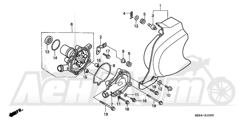 Запчасти для Мотоцикла Honda 1996 VT600C Раздел: WATER PUMP | водяная помпа