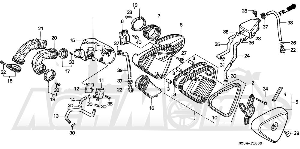Запчасти для Мотоцикла Honda 1996 VT600CD Раздел: AIR CLEANER | очиститель воздуха