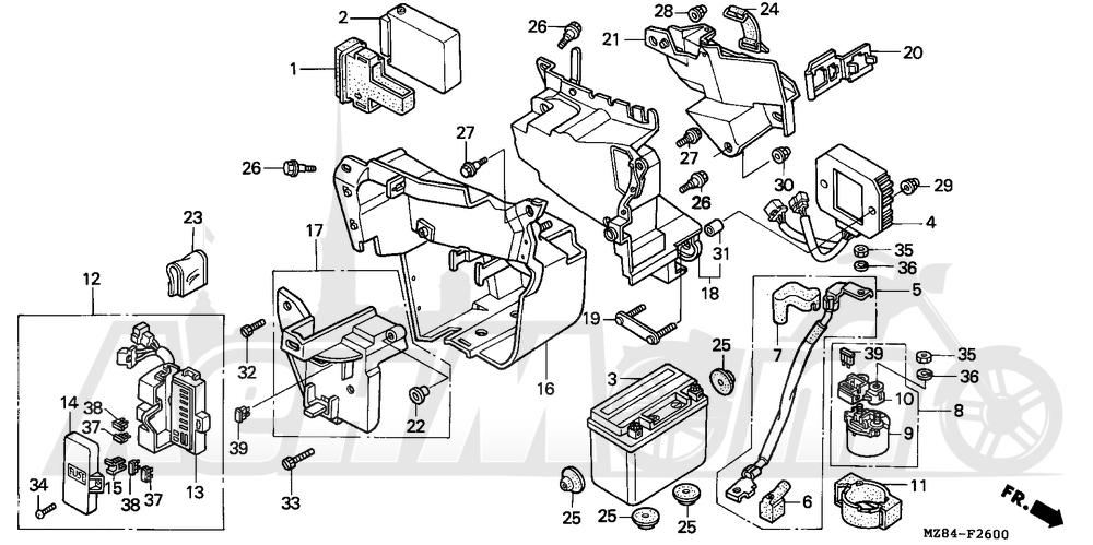 Запчасти для Мотоцикла Honda 1996 VT600CD Раздел: BATTERY | аккумулятор