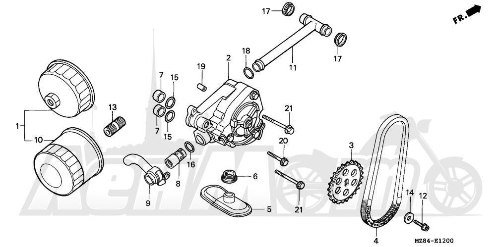 Запчасти для Мотоцикла Honda 1996 VT600CD Раздел: OIL PUMP | маслянный насос