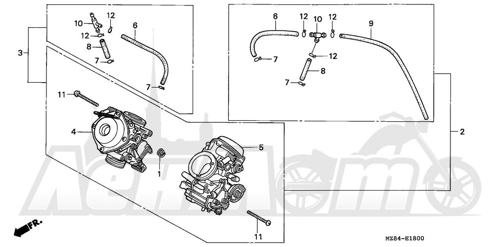 Запчасти для Мотоцикла Honda 1996 VT600CD Раздел: CARBURETOR ASSY. | карбюратор в сборе.