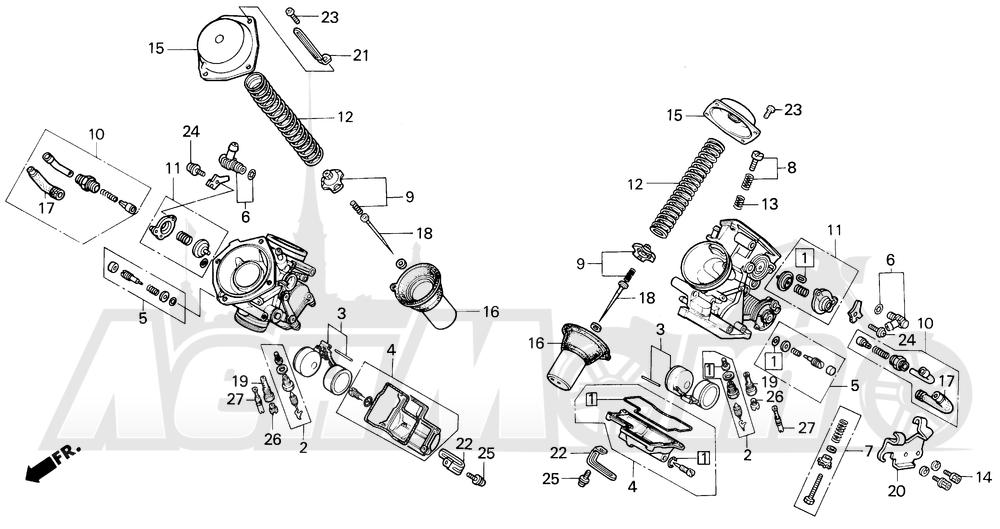 Запчасти для Мотоцикла Honda 1996 VT600CD Раздел: CARBURETOR COMPONENTS | карбюратор компоненты