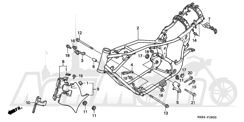 Запчасти для Мотоцикла Honda 1996 VT600CD Раздел: FRAME   рама