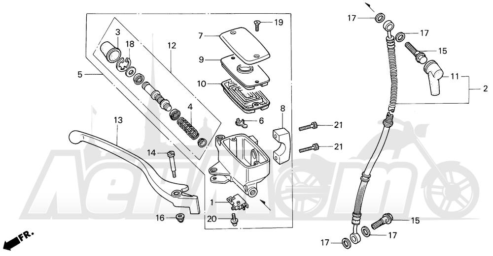 Запчасти для Мотоцикла Honda 1996 VT600CD Раздел: FRONT BRAKE MASTER CYLINDER | передний тормоз главный цилиндр