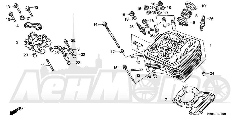 Запчасти для Мотоцикла Honda 1996 VT600CD Раздел: FRONT CYLINDER HEAD | перед головка цилиндра