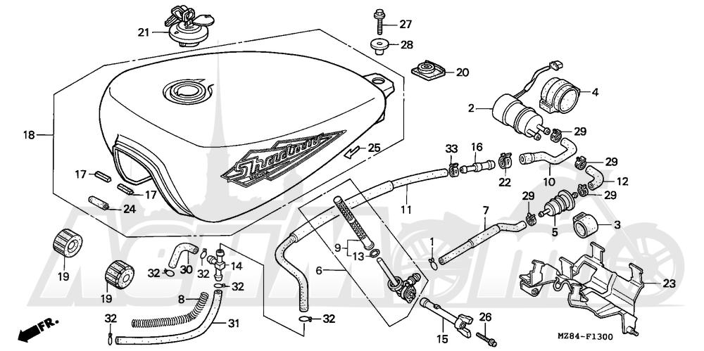 Запчасти для Мотоцикла Honda 1996 VT600CD Раздел: FUEL TANK | топливный бак