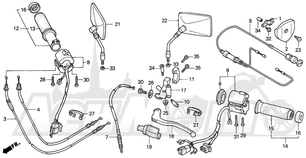 Запчасти для Мотоцикла Honda 1996 VT600CD Раздел: HANDLE SWITCH   ручной переключатель