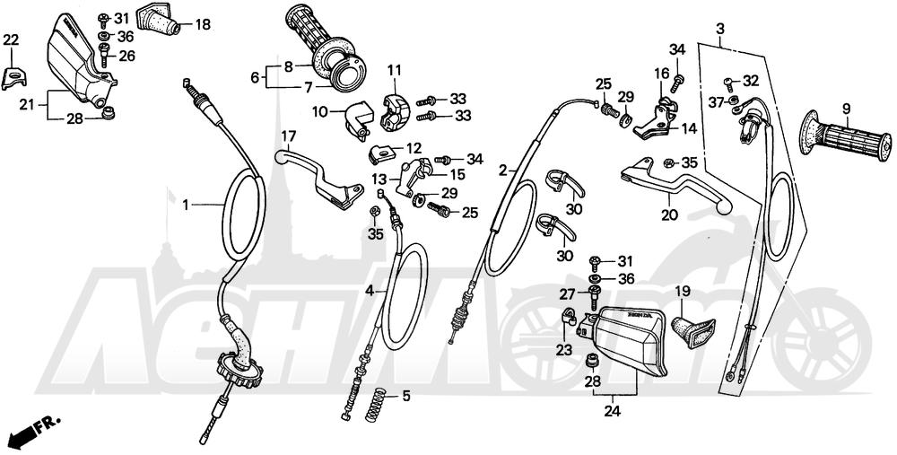 Запчасти для Мотоцикла Honda 1996 XR100R Раздел: HANDLE SWITCH AND CABLES | ручной переключатель и тросики, кабели