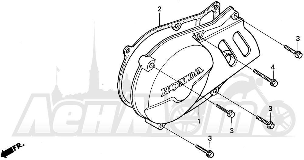 Запчасти для Мотоцикла Honda 1996 XR100R Раздел: LEFT CRANKCASE COVER | левая сторона крышка картера